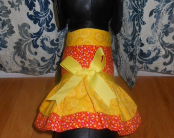 New Orange & Yellow Apron Dress/Sweater Dog Clothing Yorkie Chihuahua Terrier Small S