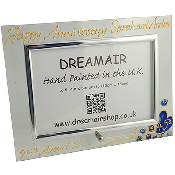 PERSONALISED 45th (Sapphire) Wedding Anniversary Gifts Flower Design ...