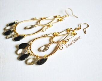 Long golden chandelier