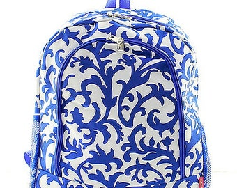 Damask Print Monogrammed School Backpack Royal Blue and White