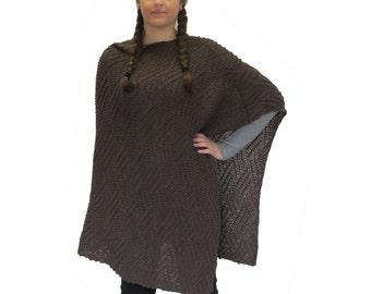 Chocolate Brown Wool Poncho