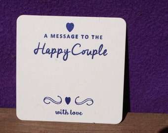 WEDDING Message  Letterpress COASTERS x 100