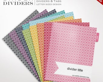 Binder Dividers - Printable Binder Dividers Editable Rainbow Mod Square - Mod Binder Divider Templates Custom Binder Tabs Printable Divider