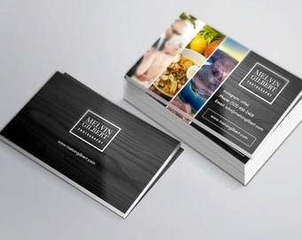Modern Photographer Business Card with Three Photos Space