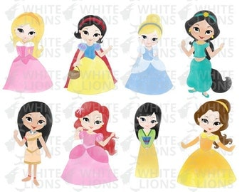 Watercolor Disney Princess Clip Art
