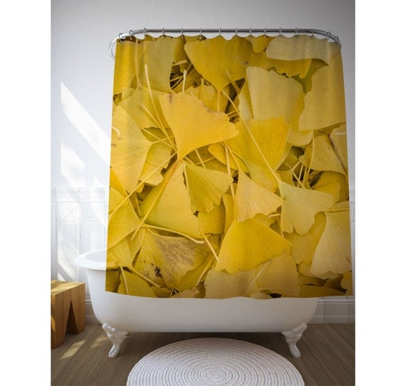 Ginkgo Leaves Shower Curtain, Yellow Bath Decor, Nature Photography, Yellow Shower Art, Nature Decor