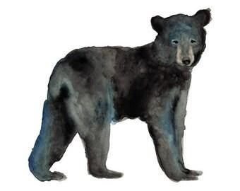 Little Black Bear- watercolor bear art print nursery art woodland children's art animal art animal watercolor brown black blue 5x7+