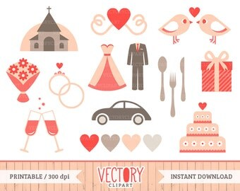 18 Wedding Clip Art, Bridal Clipart for Wedding Invitation, Pink Wedding Clipart, Wedding Images, Bride And Groom Clip Art by Vectory
