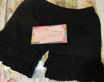 Black Shorts - Black Double Ruffle Shorties - RTS, Size 12M, 18M, 24M, 2T, 3T, 4, 5, 6, 6X, 7, 8, RTS, Baby, Toddler, Girls, Disney Trip
