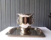 Stylish French vintage silvered metal, champagne bucket, wine cooler / chiller, party wares.
