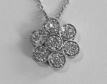 Diamond flower pendant, 14k white gold, .25 ct diamonds with chain. Gift for her, April birthstone