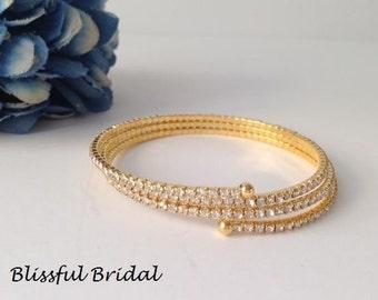 Gold Rhinestone Bracelet, Cuff Bangle Rhinestone Bracelet, Gold Coil Bracelet, Evening Gold Bracelet