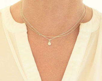 Layered CZ and Satellite Necklace Set  + Cubic Zirconia Necklace + Silver Layer Necklace + Gold Layer Necklace + Satellite Necklace + M3