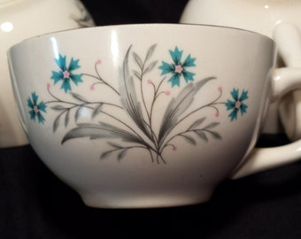 Set of 4 Homer Laughlin Tea Cups Teal Flowers with Grey foliage and gold trim