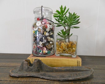 Vintage Ball Jar with Buttons, #4 Small Lid Ball Jar, Wire Clasp Ball Jar with Buttons