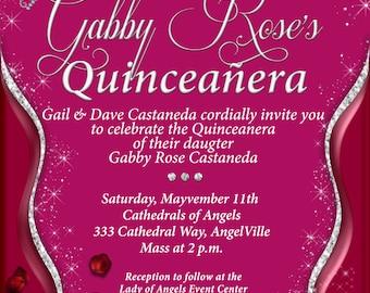 Quinceanera, Quinceanera invitations, Diamond Quinceanera, pink Quinceanera invitations, Invitaciones de quinceañera
