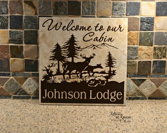 Cabin Sign,Personalized Welcome to our cabin sign,Welcome to our home, Welcome Sign, Welcome Tile, Custom Wedding Gift, Welcome to our Cabin