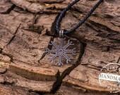 Aegishjalmur or Helm of Awe Symbol Necklace Bronze Amulet Pendant Pagan Jewelry