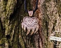 Warding Veles Print Necklace Bronze Pendant Pagan Jewelry