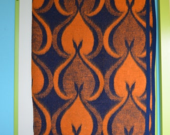 Vintage blanket with large motifs in orange and blue, Davos, seventies