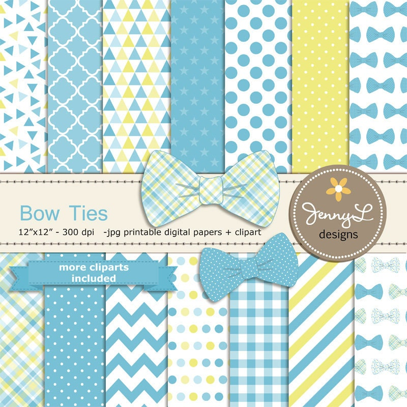 bow ties digital papers and clipart baby shower