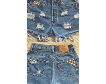 Custom Studded High Waisted Shorts