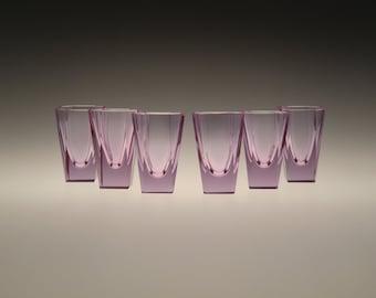 Czech Bohemian Art Deco Alexandrit Glasses Set of 6 pcs