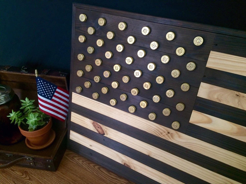 Burned reclaimed wood american flag wall art with 50 caliber American flag wood wall art