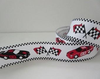 "Race Car Ribbon Nascar Grosgrain Ribbon Flags 1 1/2"" inch wide Sports Ribbon Party Decor Decorative Trim Printed Ribbon gj019"