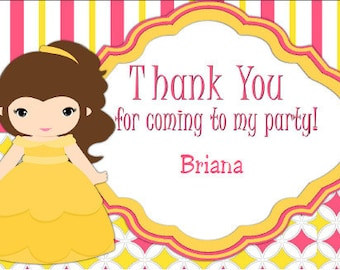 Belle Thank You Card, Thank You Note, Princess Thank You
