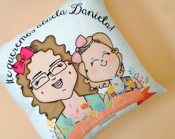 Custom Made Illustration - Personalized Throw Pillow w/ stuffing
