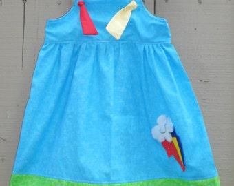My little Pony inspired dress,Rainbow dash dress,Toddler Knot dress,Dress up dress,Apron Dress