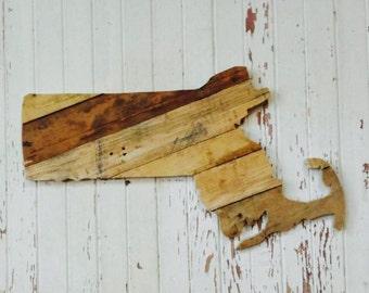 Massachusetts State Wood Pallet Wall Art
