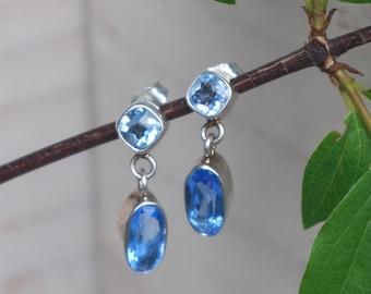 Gorgeous Vintage Blue Quartz Aquamarine Earrings Sterling Silver 925