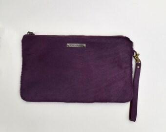 Purple Calf Hair Wristlet / Dana Wristlet in Eggplant