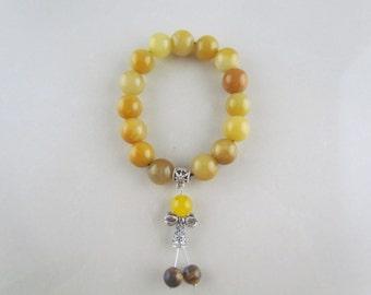 Bracelets jaunes naturelles de jade, bracelet de perles de mode, bracelet de perles