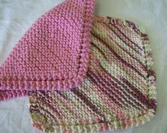 100% Cotton Knit Knitted Dishcloths Washcloths Dishrags Pink Mauve