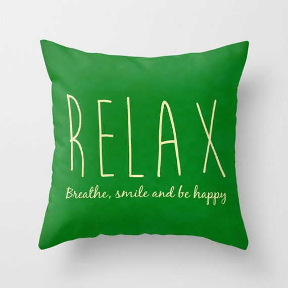 Throw Pillow With The Word Home On It : Items similar to Relax pillow, typography pillow, word breathe smile be happy throw pillow cover ...