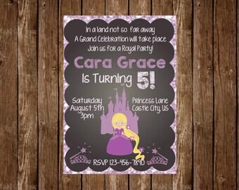 Chalkboard Princess Birthday Invitation