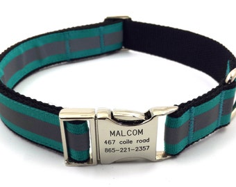 Reflective Personalized  Dog Collar Free Engraved Customized Buckle  Name Phone Number Jade