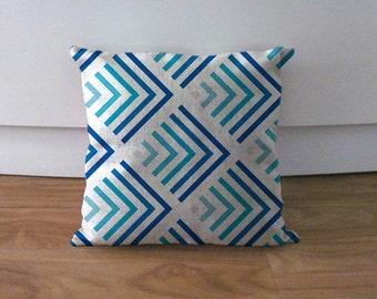 "Blue gradient pillowcase,blue decorative throw pillow,Geometric cushion cover,diamond linen cushion case,accent pillow cover 18"",euro sham"