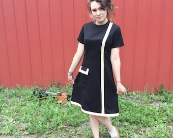 1960's Mod Black Department Store Dress