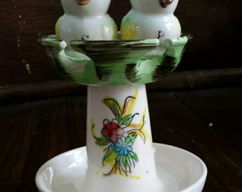 "Vintage Spoon Rest ""nest"" with Bird Salt and Pepper Shakers"