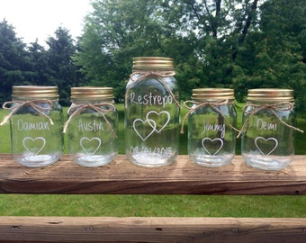 5-Piece Personalized Mason Jars Sand Ceremony Set - 1 Large Jar and 4 smaller jars