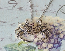 Nautical Steampunk Crab Necklace Mechanical Crustacean Silver Crab with non moving Gears Vintage Style Pendant