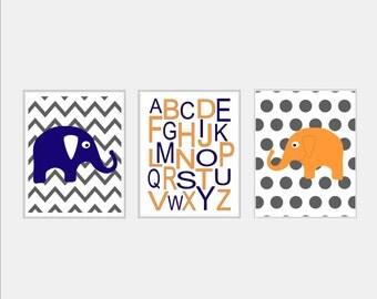 Baby Boy Nursery Art - Elephant Nursery Art Trio Set of Three Prints - Chevron Elephant, Alphabet, Polka Dot Elephant - Kids Wall Art