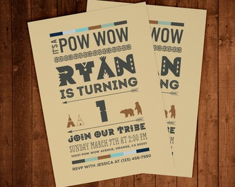 Pow Wow Birthday Invitations - DIGITAL FILE ONLY