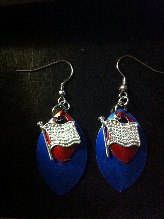 Patriotic Red White & Blue Scale Earrings with American Flag