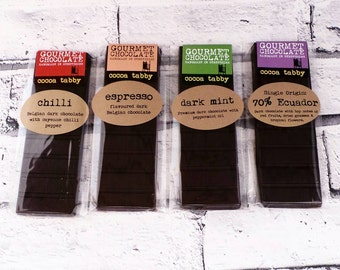 4 Chocolate bars - Dark chocolate in a selection of flavours. Gourmet chocolate, handmade in Derbyshire
