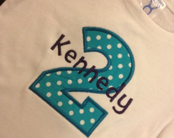 Baby Girls 1st or 2nd teal Polka Dot and purple Birthday Number Onesie Personalized with Name and Age